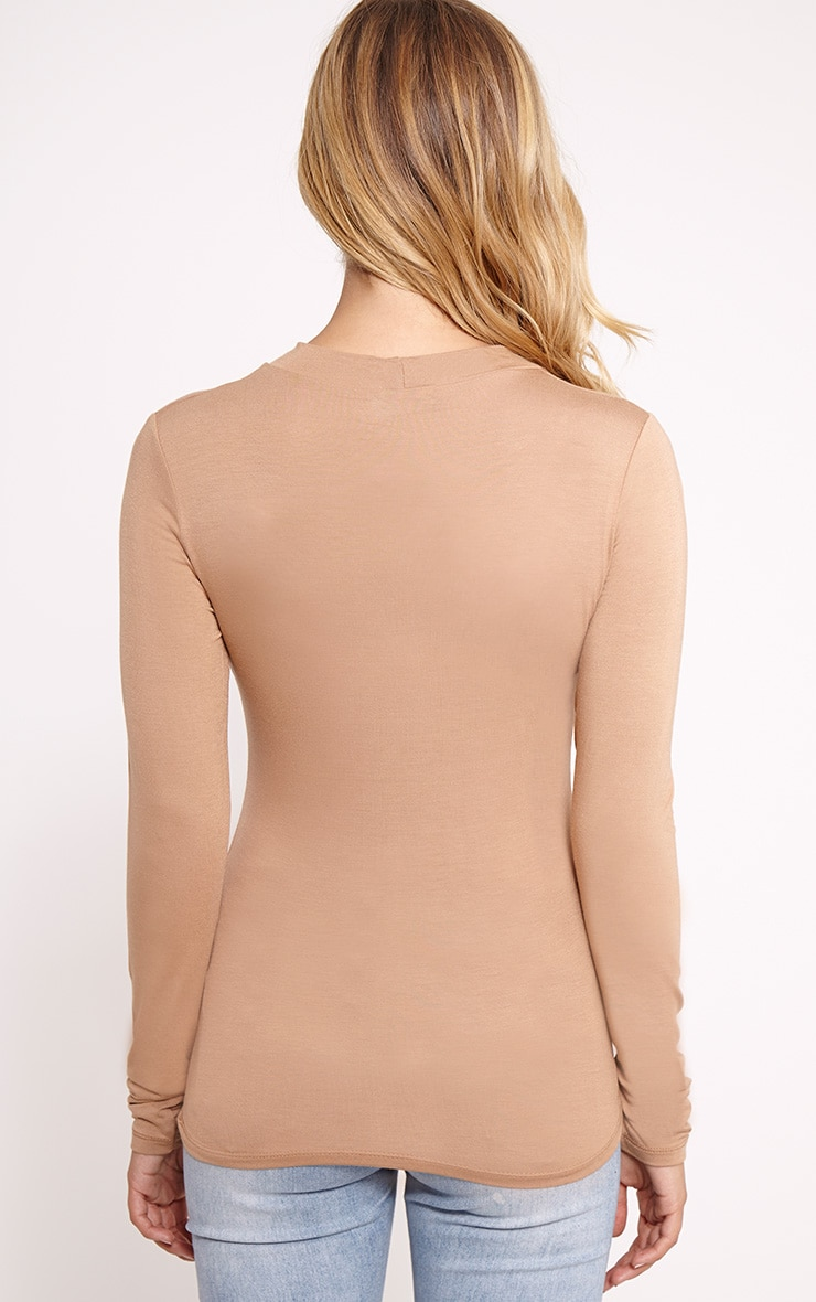 Basic Camel Turtle Neck Jersey Top 2