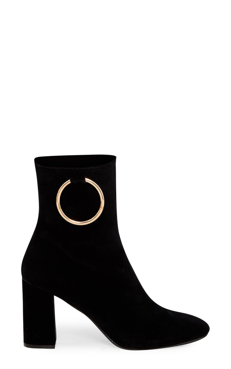 Black Ring Side Block Heel Boot 3