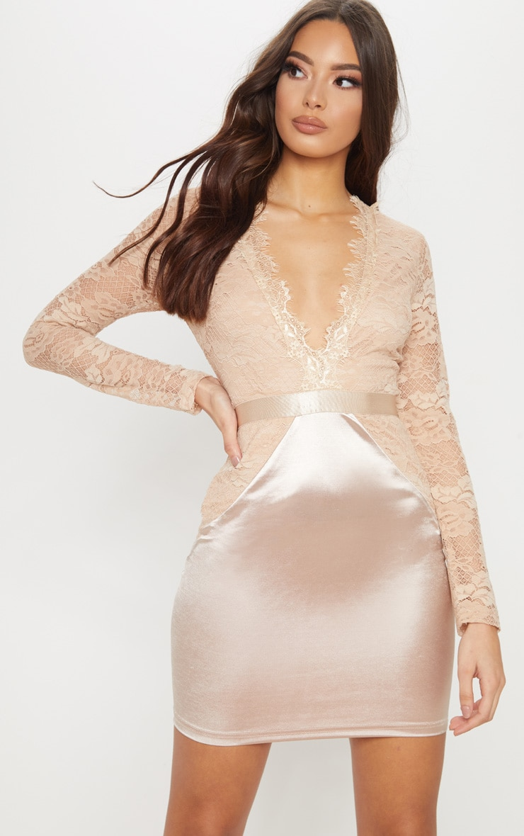champagne lace top satin bodycon dress