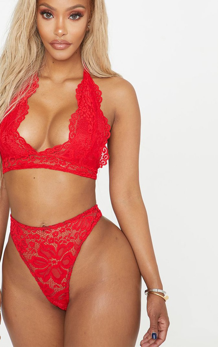 Shape Red Lace Thong 1