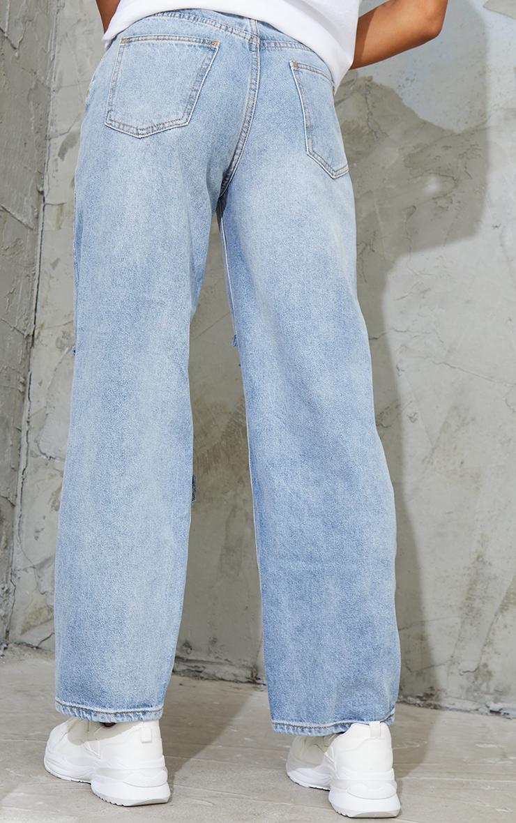Bleach Wash Baggy Low Rise Ripped Boyfriend Jeans 4