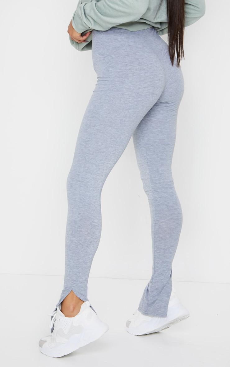 Grey Marl Basic Jersey Split Hem Leggings 3