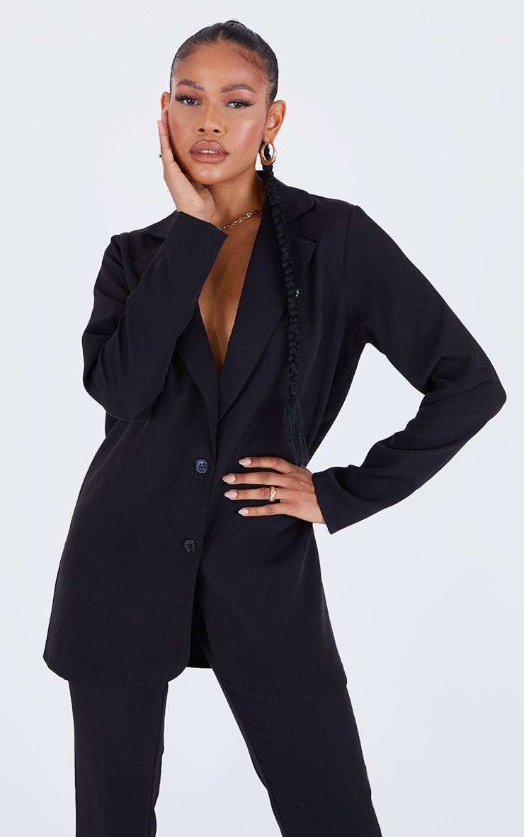 PRETTYLTTLETHING Black Badge Detail Woven Oversized Long Sleeve Button Front Blazer 1