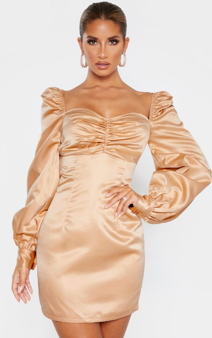 Champagne Puff Balloon Sleeve Ruched Bust Bodycon Dress 1