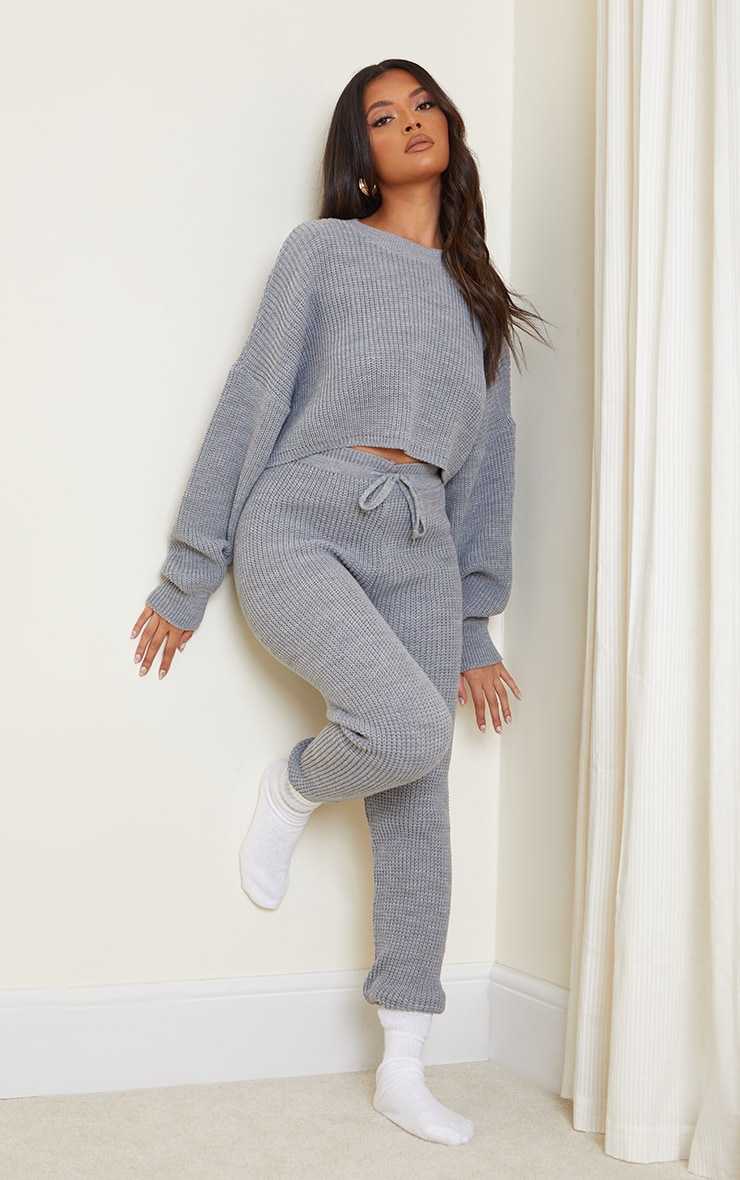 Grey Waffle Knitted Crop Jumper And Tie Waist Leggings 3
