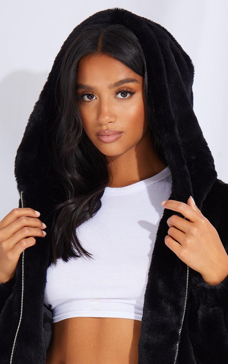 Petite Black Faux Fur Hooded Balloon Sleeve Jacket 4