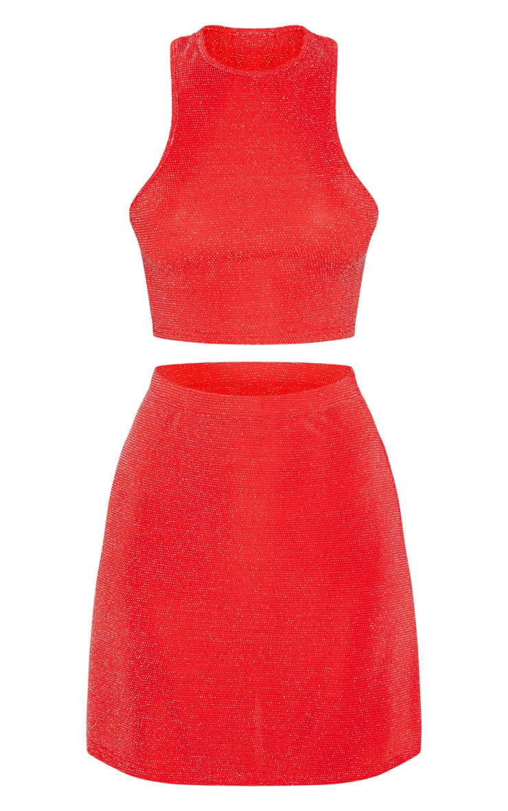 Red Texture Glitter Racer Top And A Line Skirt Set 3