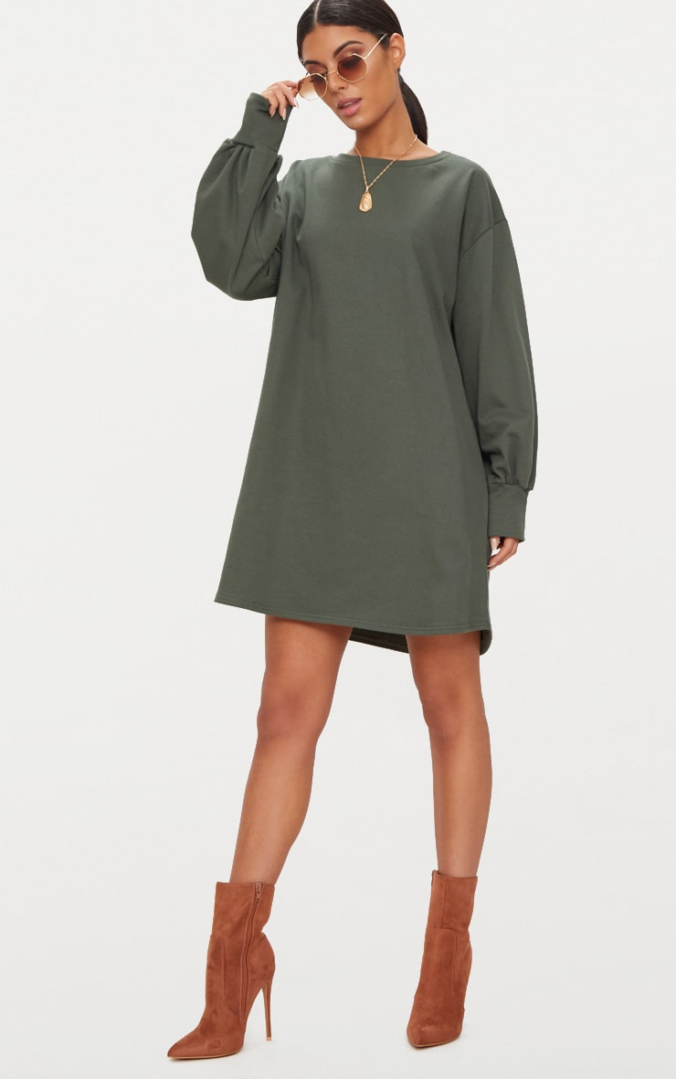 Khaki Oversized Sweater Dress 4