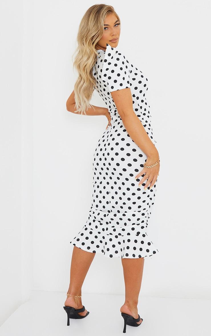 White Polka Dot Puff Sleeve Ruched Frill Hem Midi Dress image 2