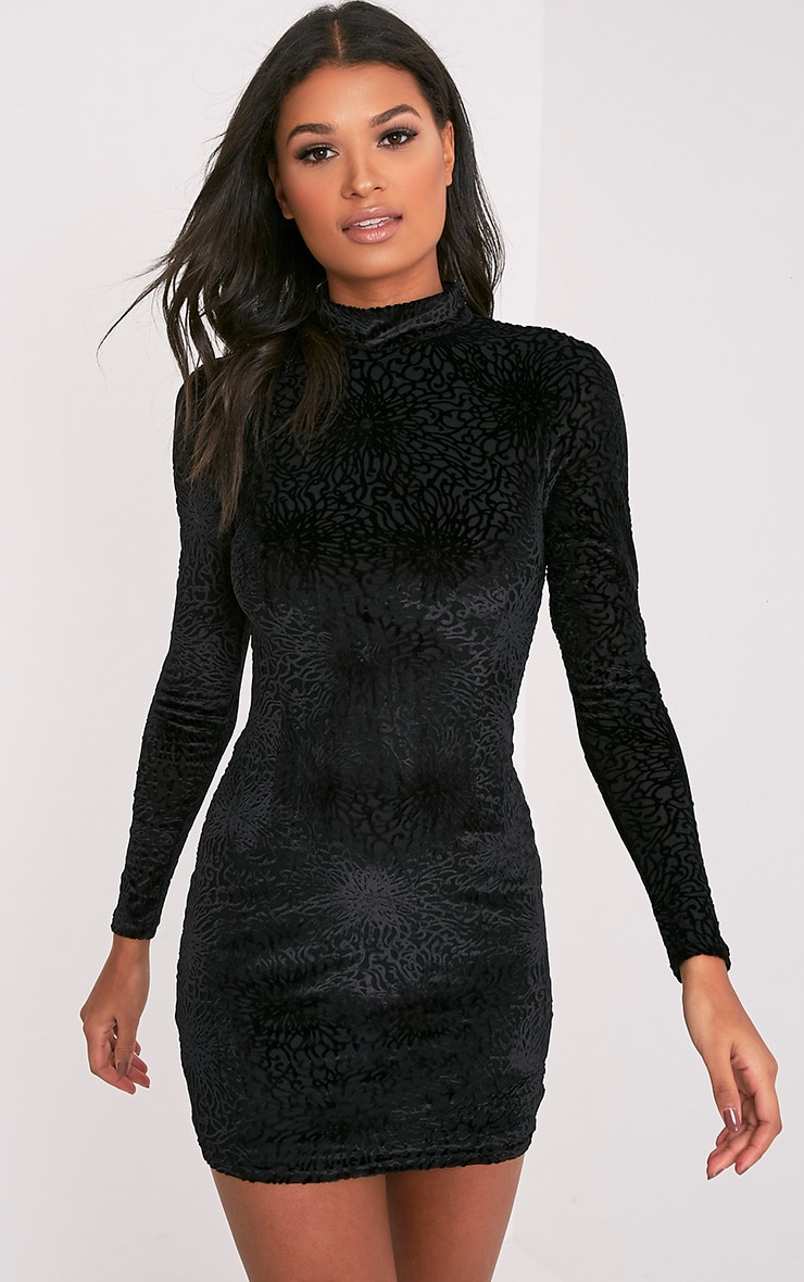 Delivery black velvet long sleeve bodycon dress outfit the