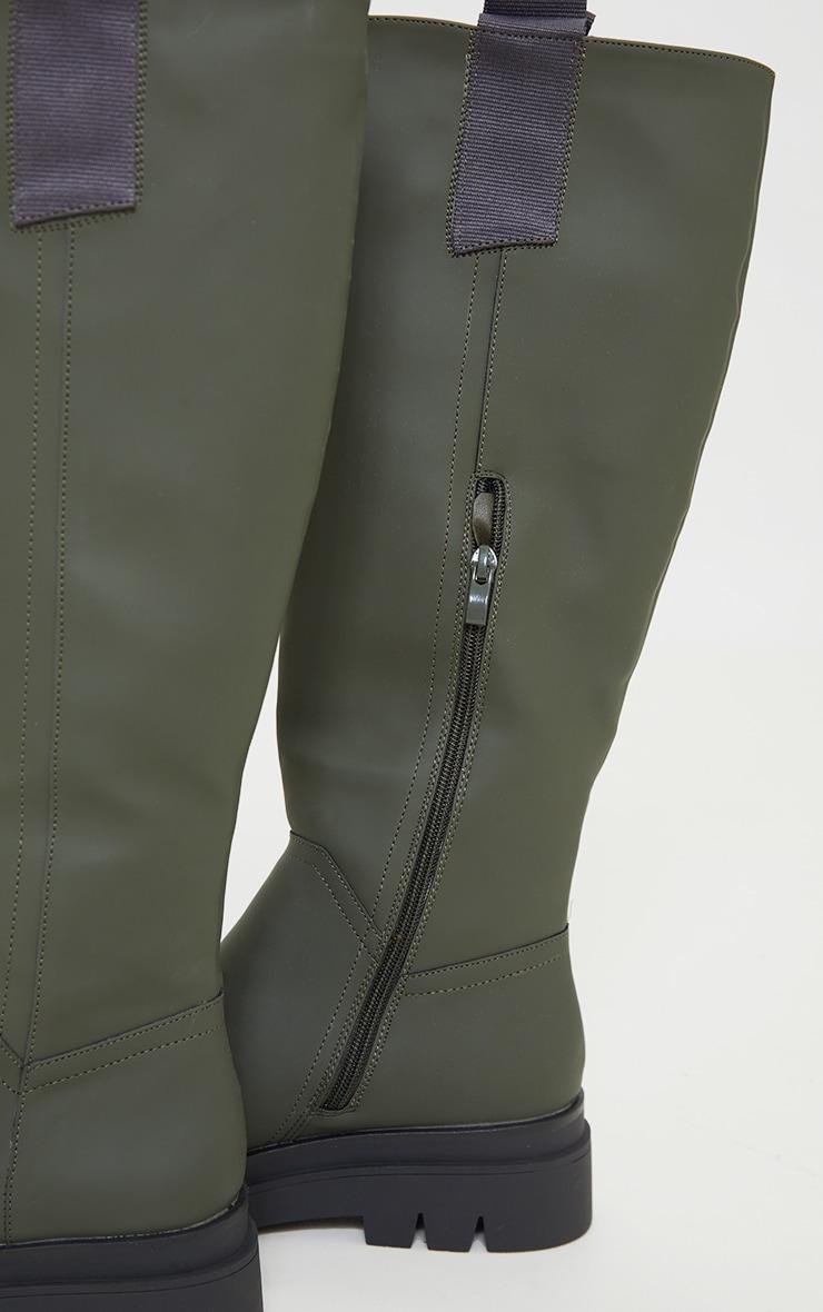 Khaki Rubber Chunky Sole Rain Boots 4