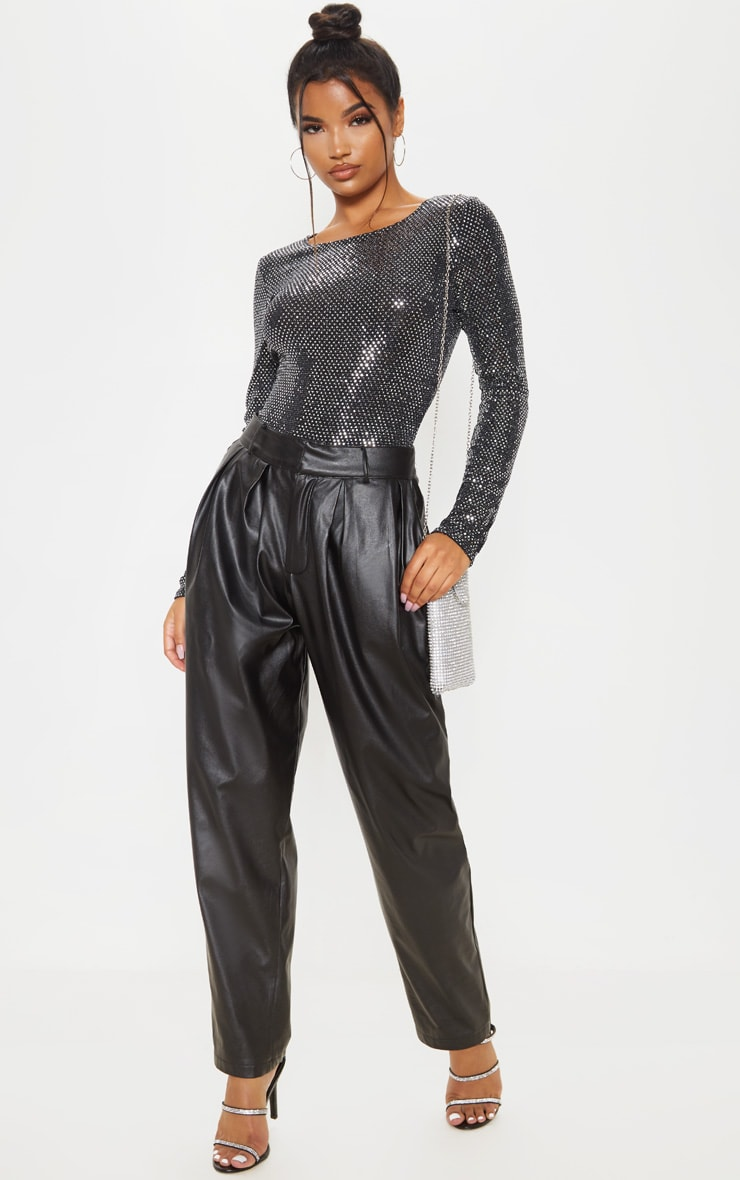 Silver Sequin Long Sleeve Bodysuit 5