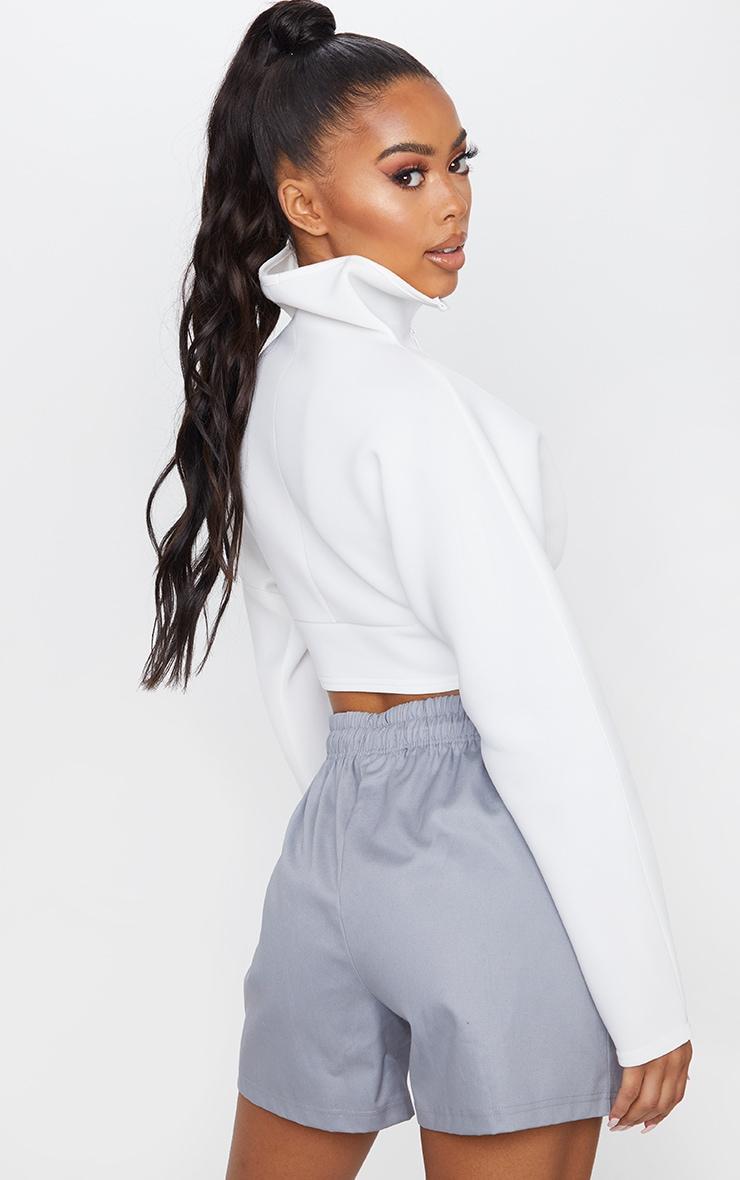 White Scuba Zip Up Long Sleeve Sweater 2