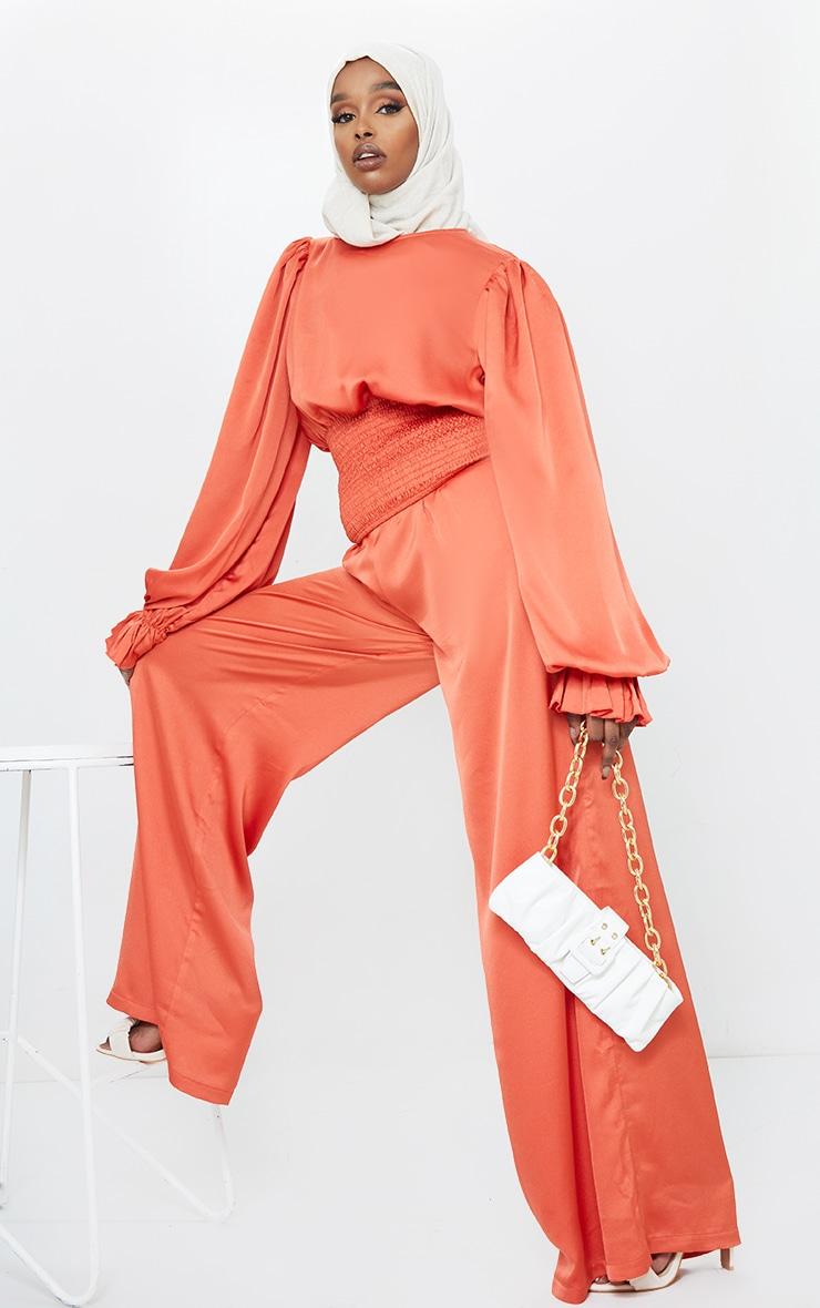 Rust Elastic Waist Wide Leg Trousers 1