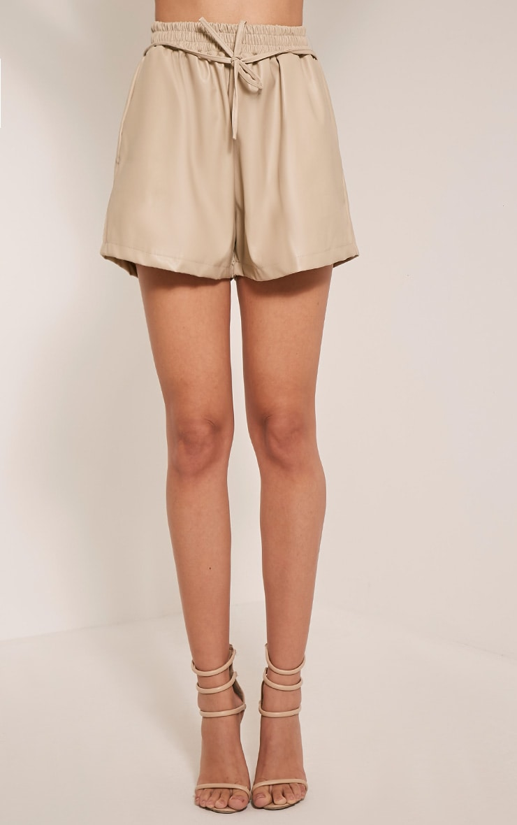 Mindy Stone Faux Leather Tie Waist Shorts 2