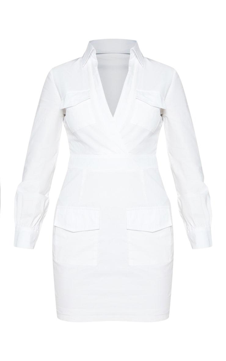 White Utility Pocket Detail Bodycon Dress 4