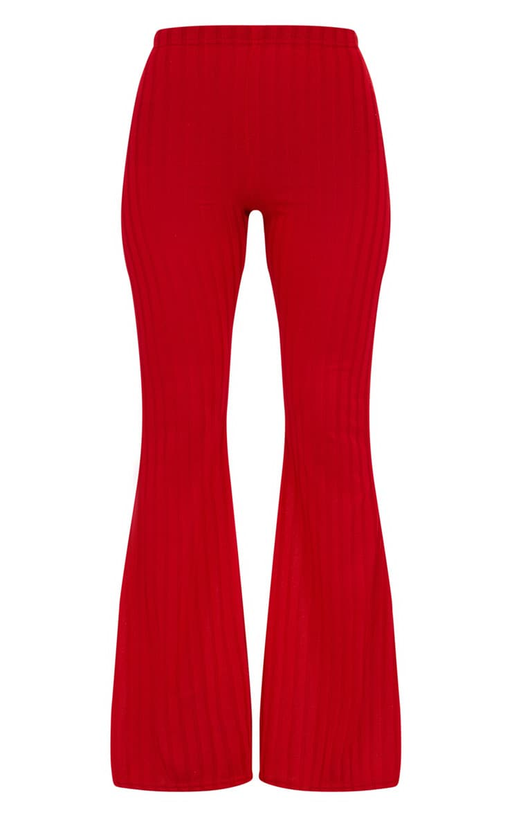 Petite Red Ribbed Flares 3