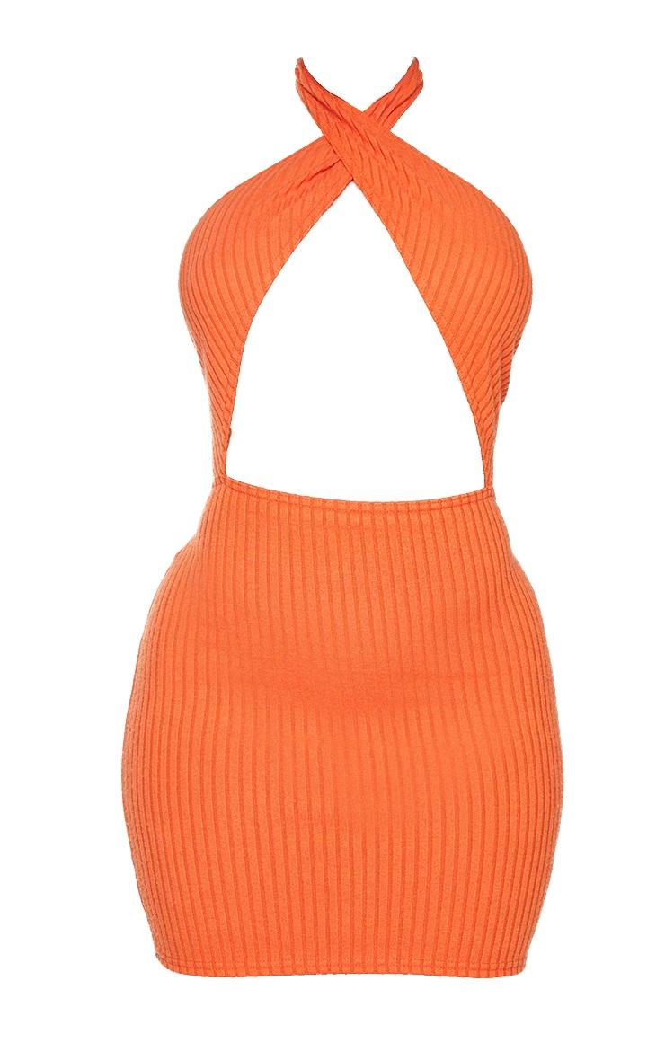 Shape Orange Soft Rib Wrap Halterneck Bodycon Dress 5