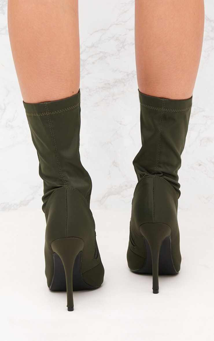 Khaki Lycra Lace Up Ankle Boot 4