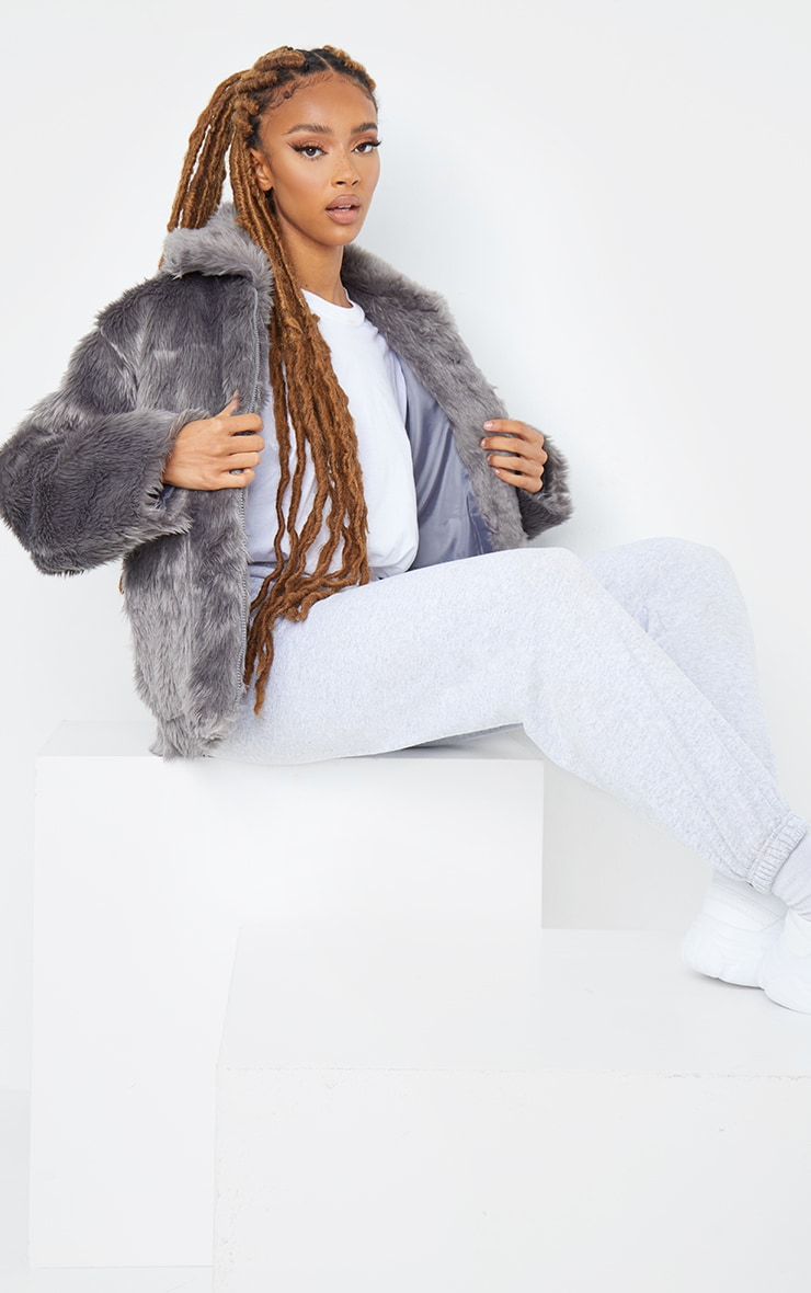 Dark Grey Long Faux Fur Pocket Front Jacket 3