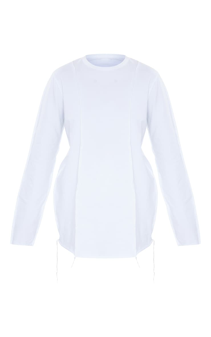 White Cotton Overlock Stitch Detail Long Sleeve Top 6