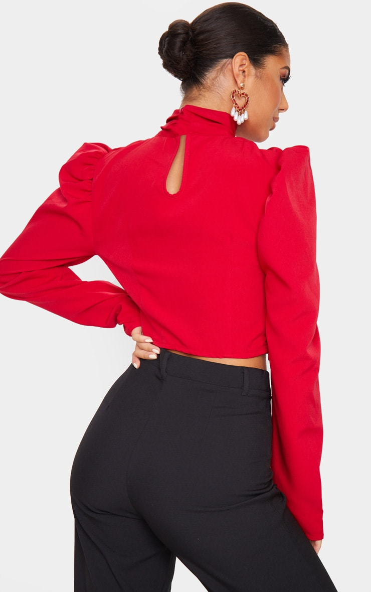 Red Ruched High Neck Crop Top 2