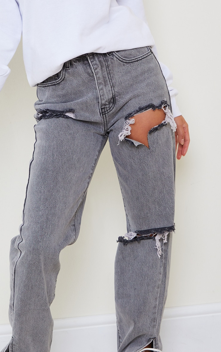 Petite Grey Distressed Split Hem Jeans 4