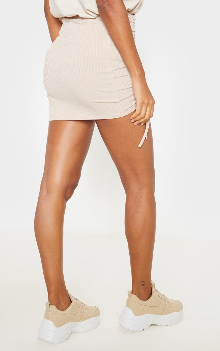 Stone Rib Ruched Detail Mini Skirt  4