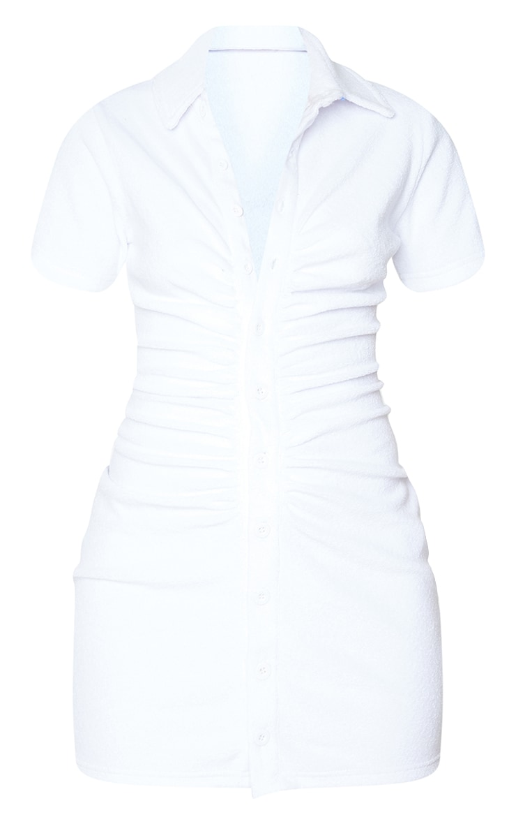 White Ruched Button Down Collar Detail Towelling Bodycon Dress 5