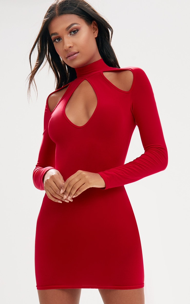 Red Open Arm Detail Long Sleeve Bodycon Dress 1