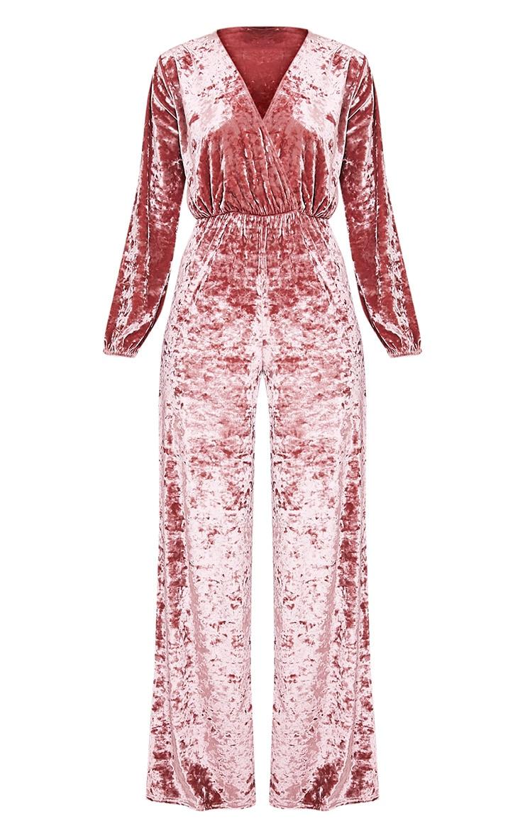 Alana Dusty Pink Velvet Wrap Front Jumpsuit 3