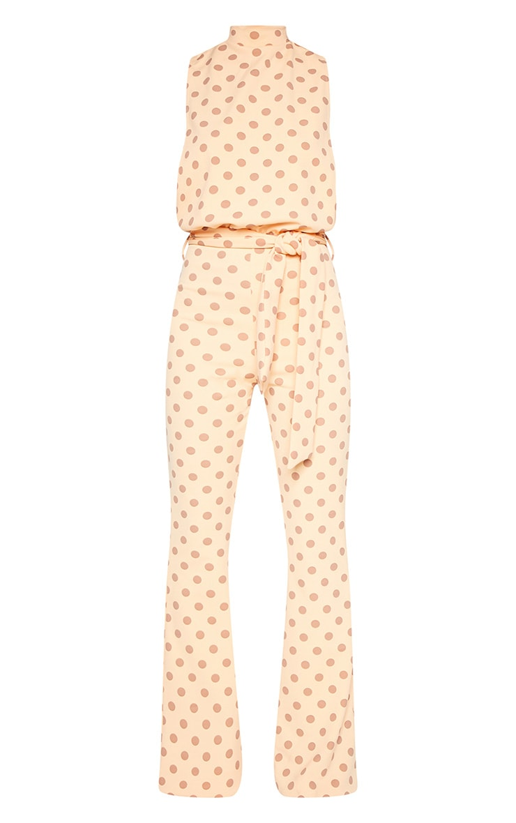 Petite Orange Polka Dot Scuba High Neck Tie Waist Jumpsuit 3