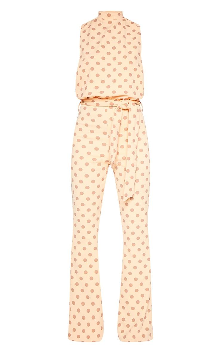 Petite Orange Polkadot Scuba High Neck Tie Waist Jumpsuit 3