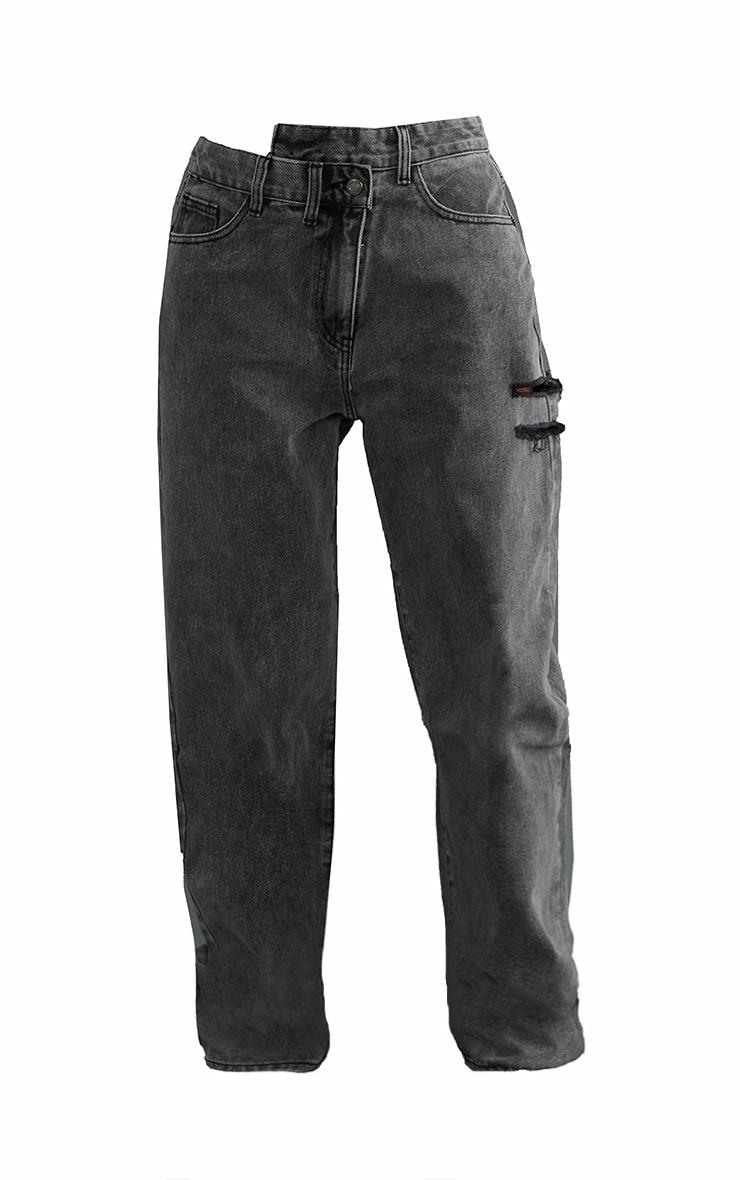 Washed Grey Baggy Lowrise Asymmetric Waistband Thigh Split Boyfriend Jeans 5