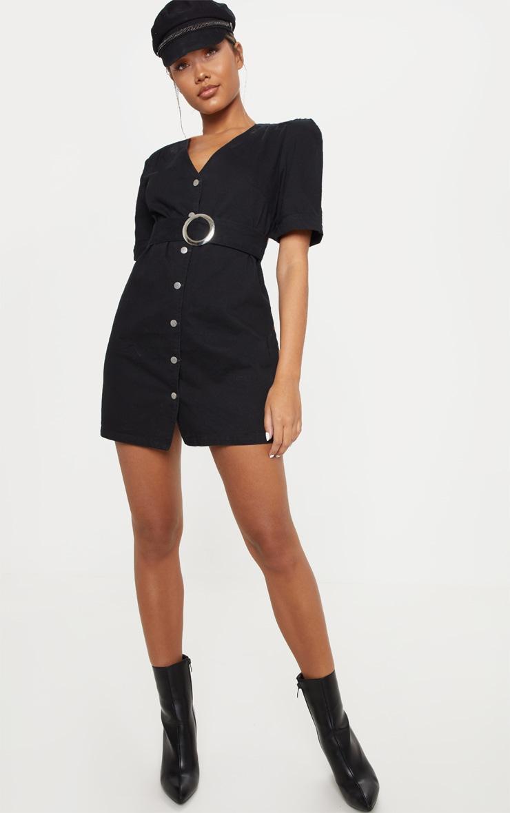 Black Buckle Belt Denim Mini Dress  4