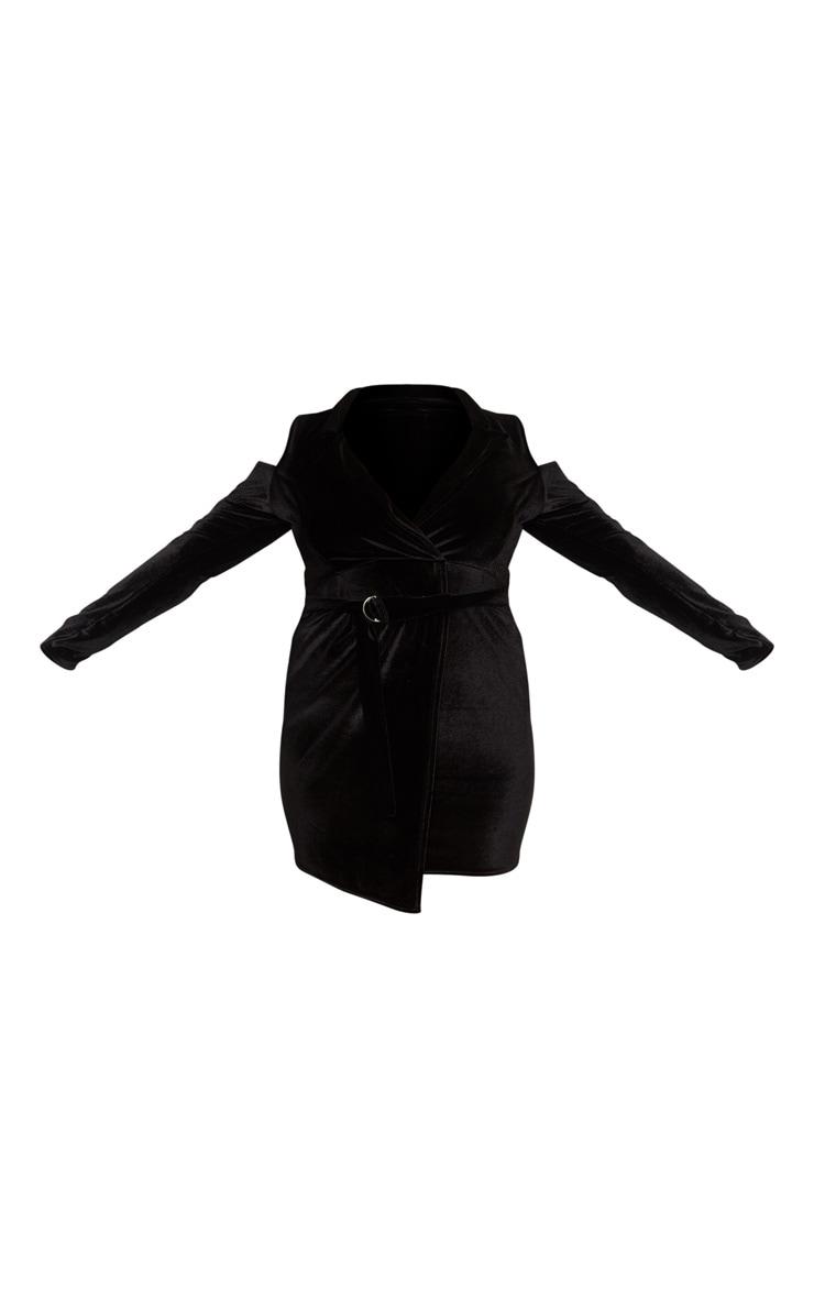 Plus Black Velvet Cold Shoulder Blazer Dress  3
