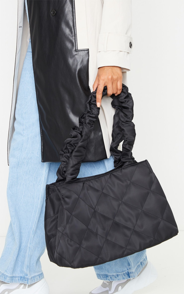 Black Ruched Oversized Tote Bag 1