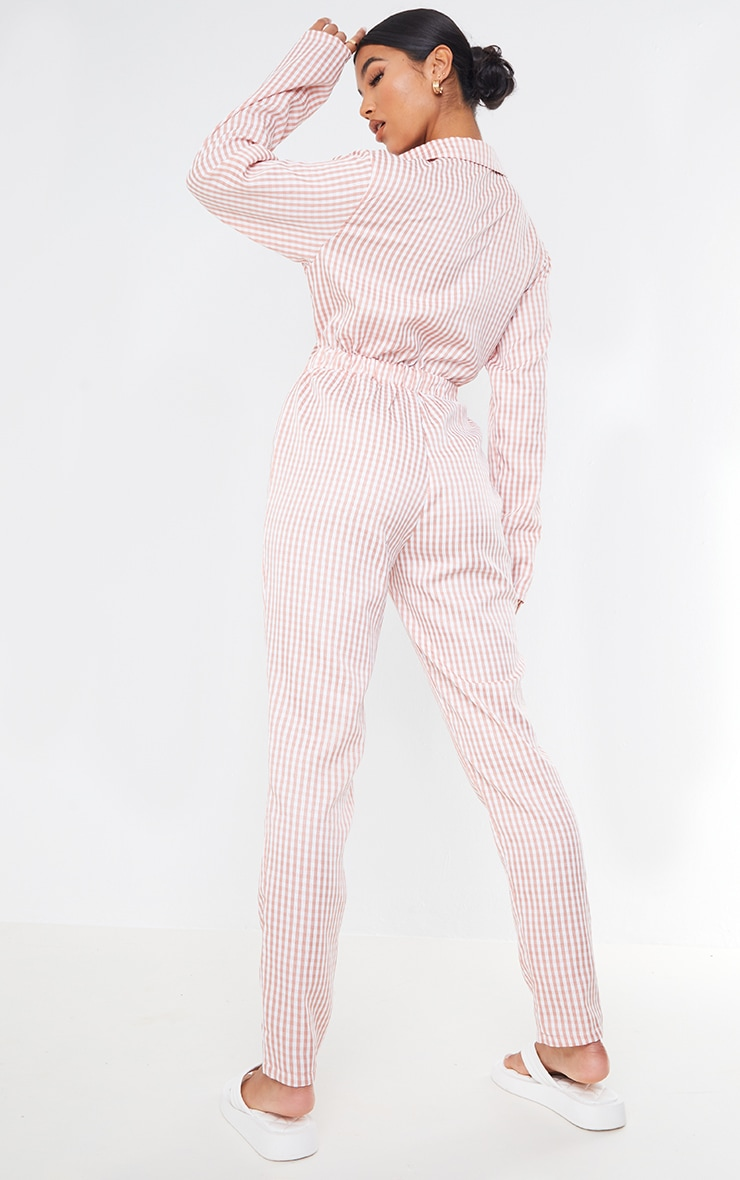 Pink Gingham Tie Front Collar Detail Jumpsuit 2