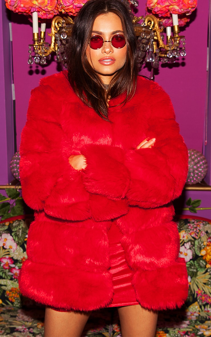 Red Faux Fur Bubble Coat 1