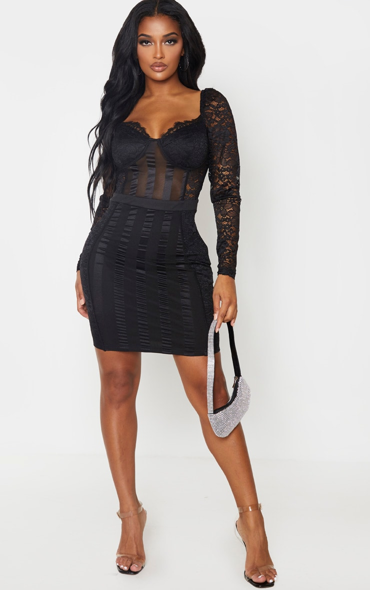 Shape Black Lace Mesh Stripe Long Sleeve Bodycon Dress 4