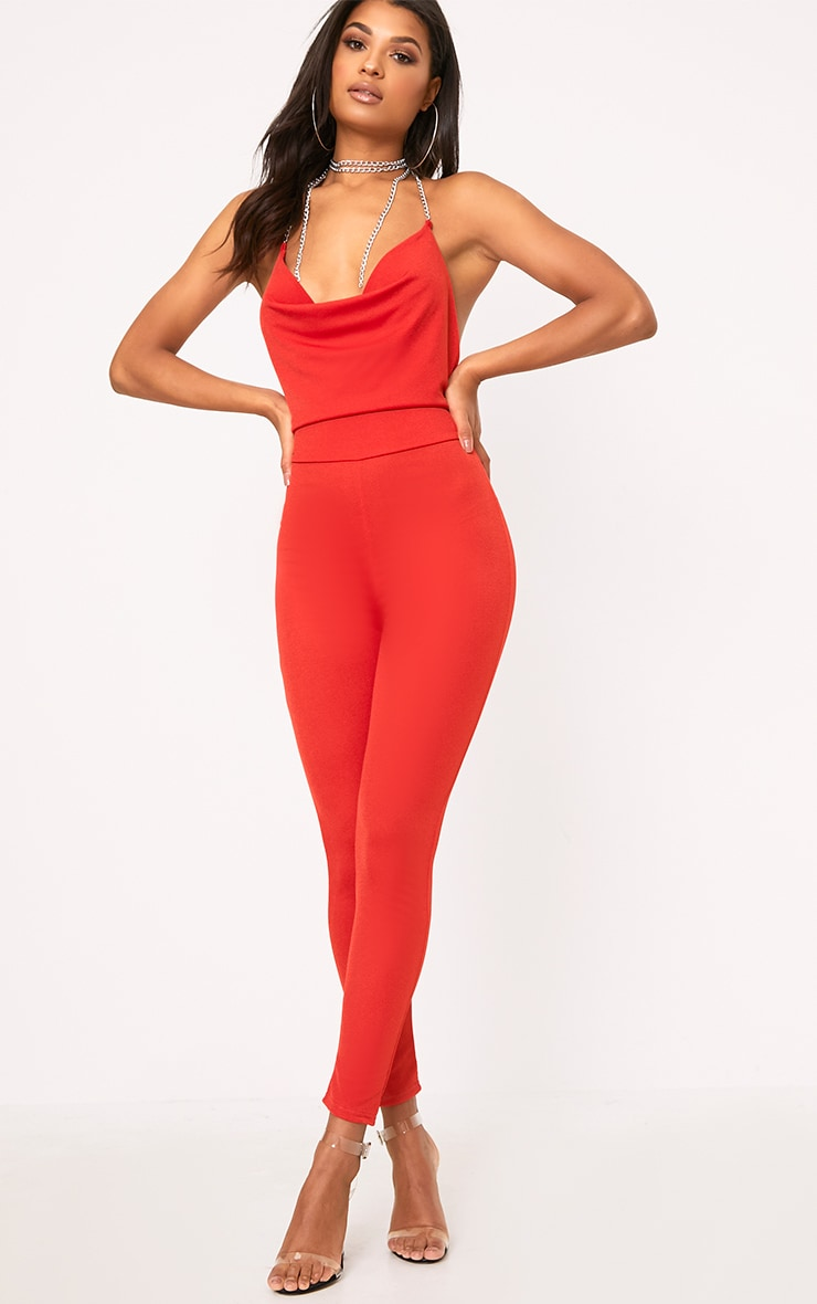 Red Chain Scoop Front Jumpsuit  1