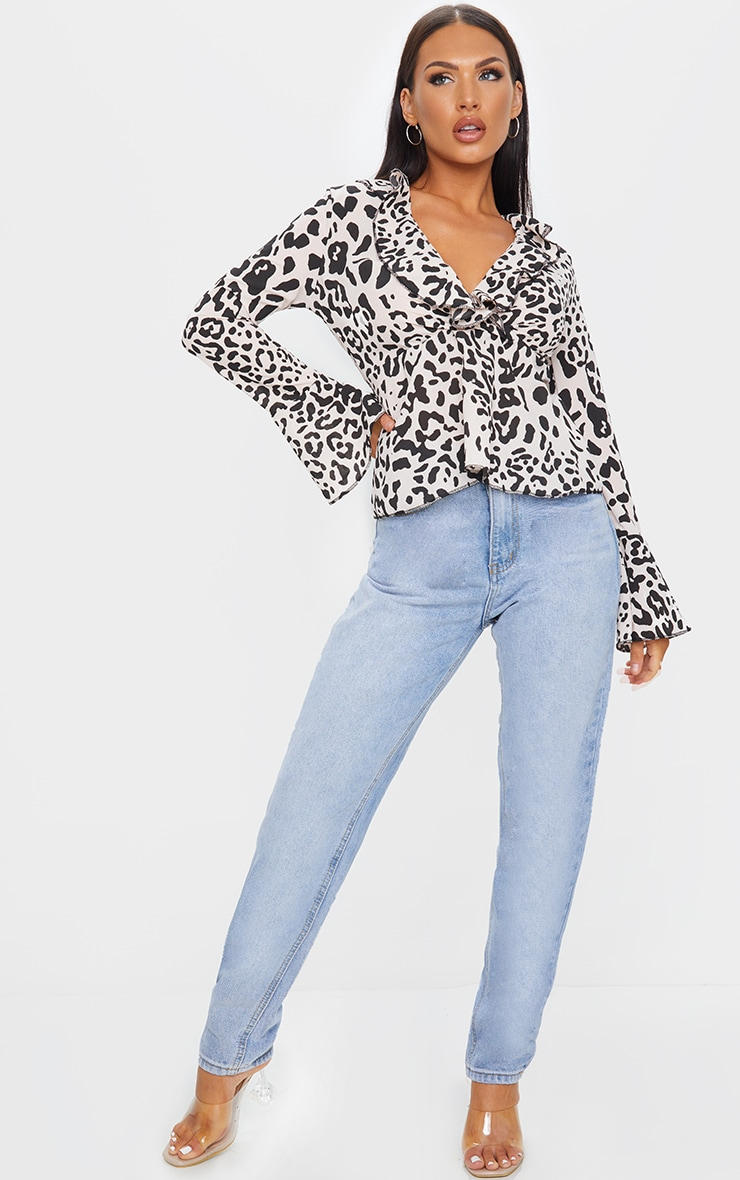 Nude Print Frill Detail Blouse 3