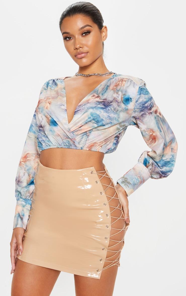 Stone Vinyl Lace Up Side Mini Skirt 1
