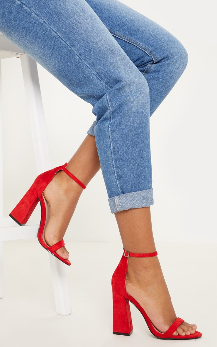 Red High Block Heel Strappy Sandal 1