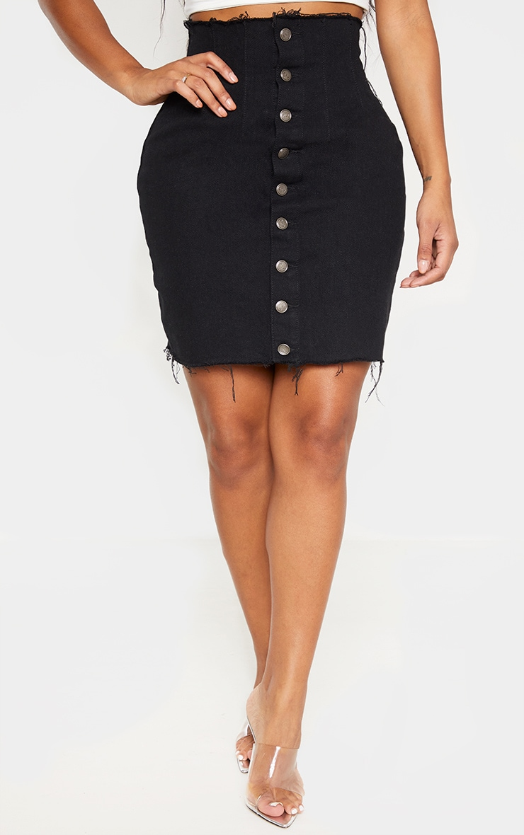 Shape Black Button Front Seam Detail Denim Skirt 2