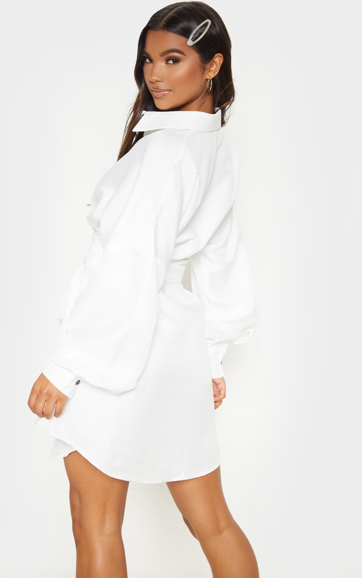 White Belted Tie Shirt Dress 2