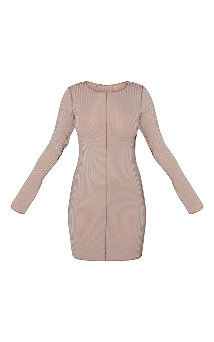 Stone Rib Contrast Seam Stitching Long Sleeve Bodycon Dress 5