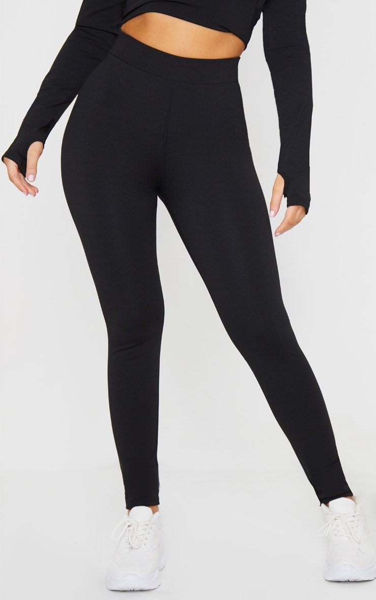 Black Line Detail Printed Gym Leggings 2
