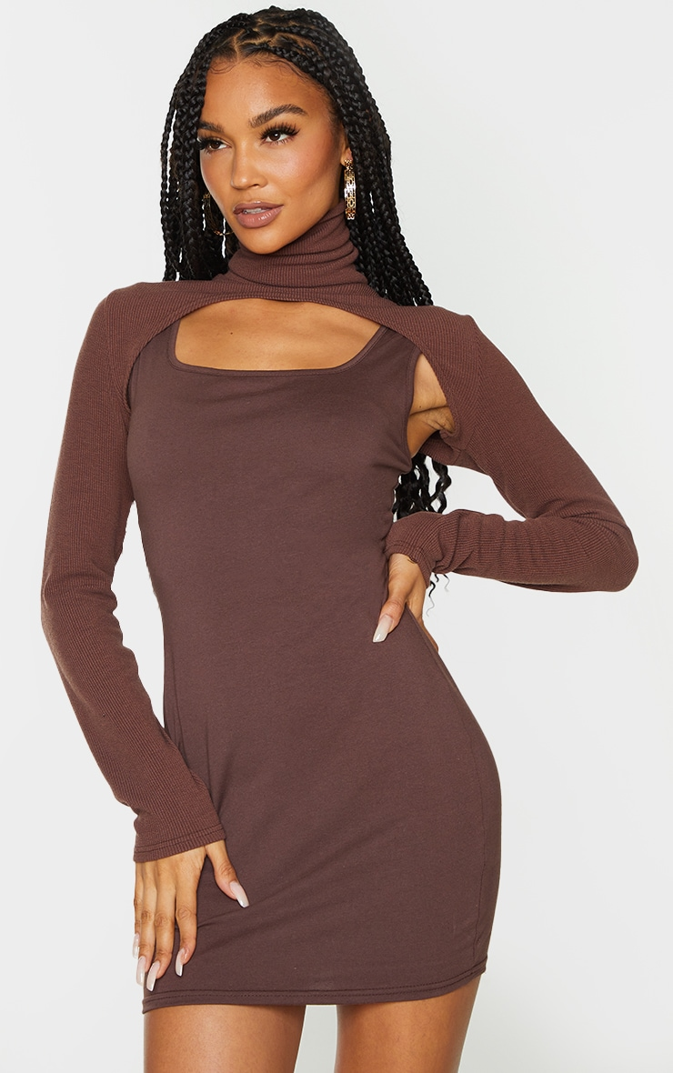 Chocolate High Neck Layered Detail Long Sleeve Bodycon Dress 1