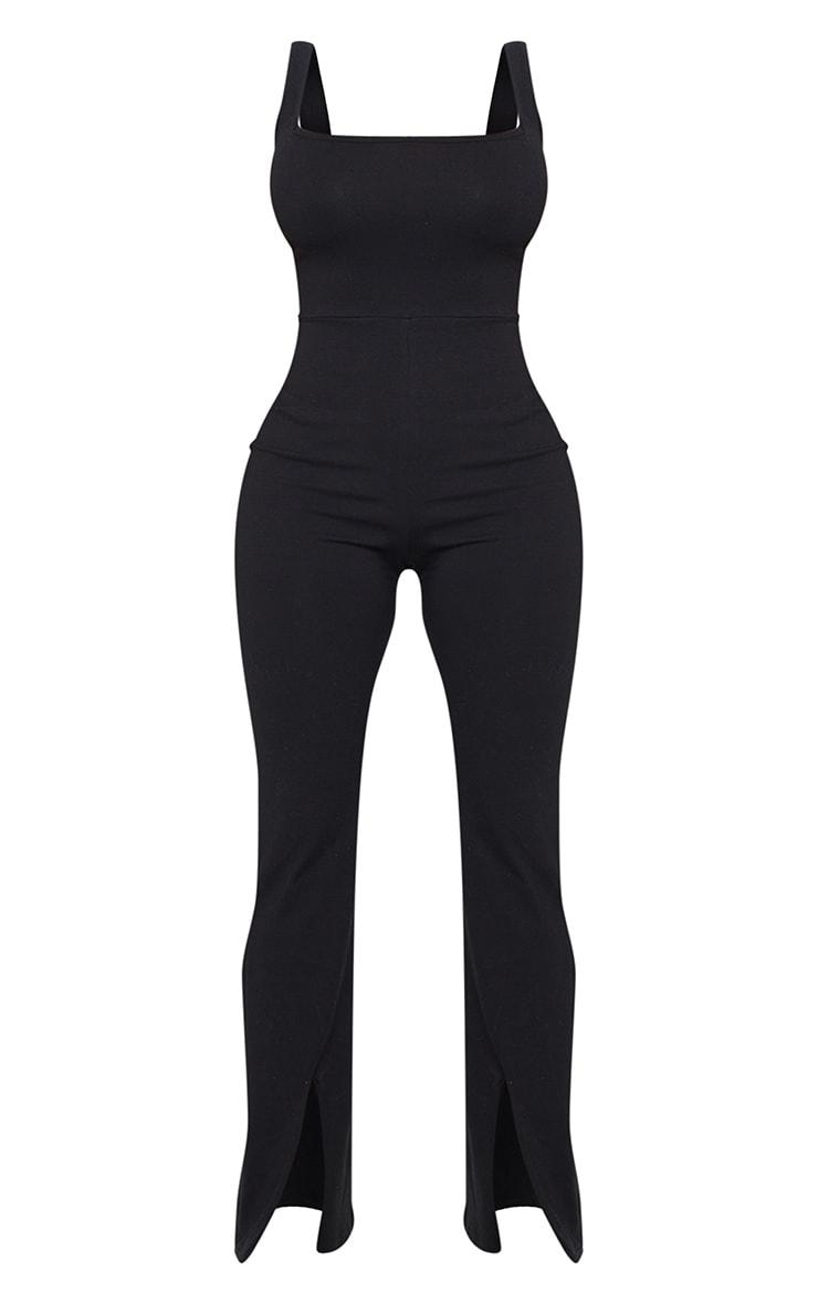 Shape Black Cotton Square Neck Split Front Jumpsuit 5